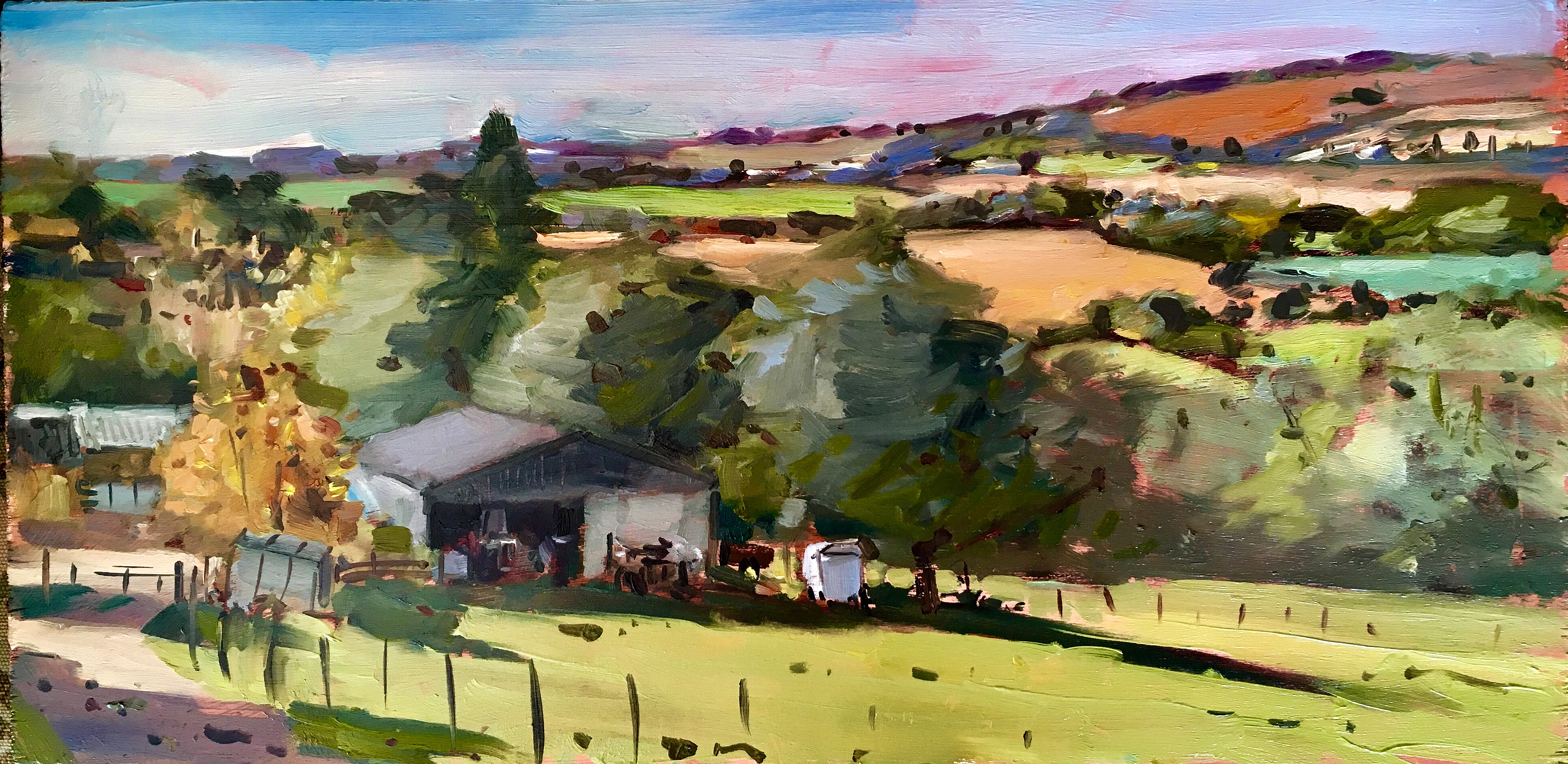 Across the fields of Wheathills. 8×16 inches unframed