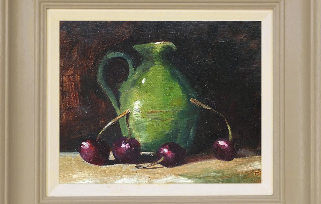 green Jug with Cherries