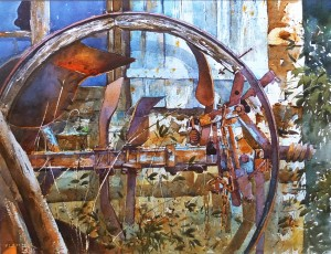 Old Cartwheel and Plough. 16 x 12 inches. SOLD