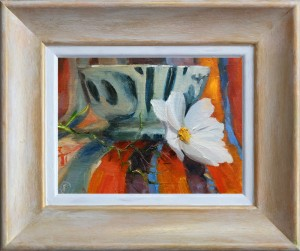 Blue bowl and cosmos, (without frame) £99