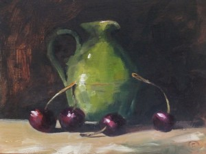Green Jug and Cherries