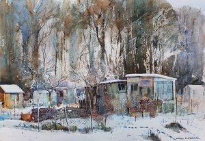 Chippy allotments in snow  /sold