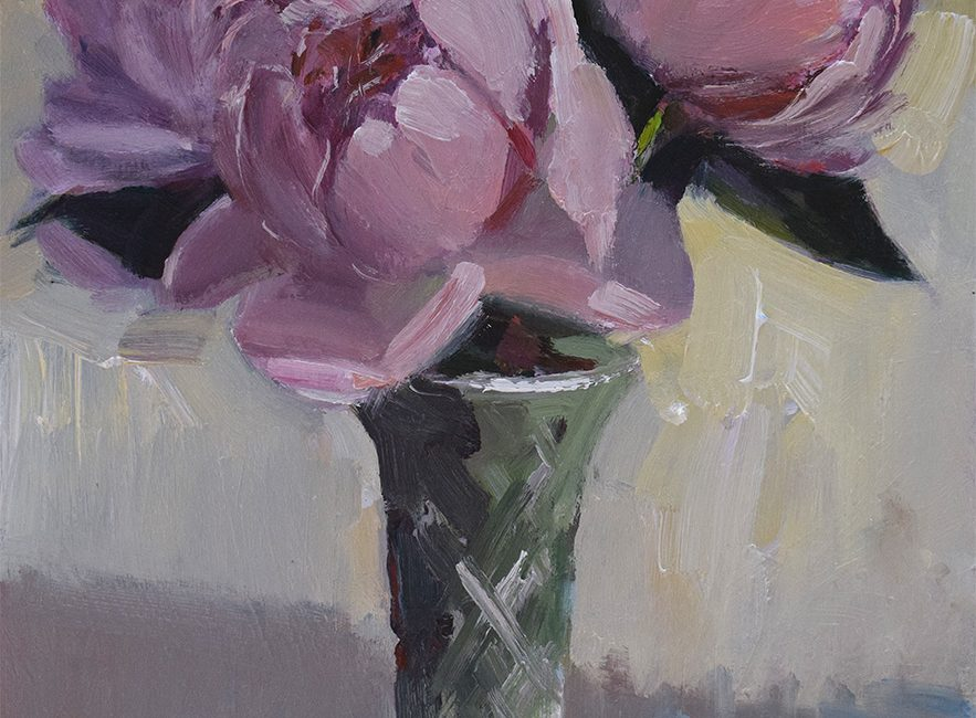 Peonies in glass jar