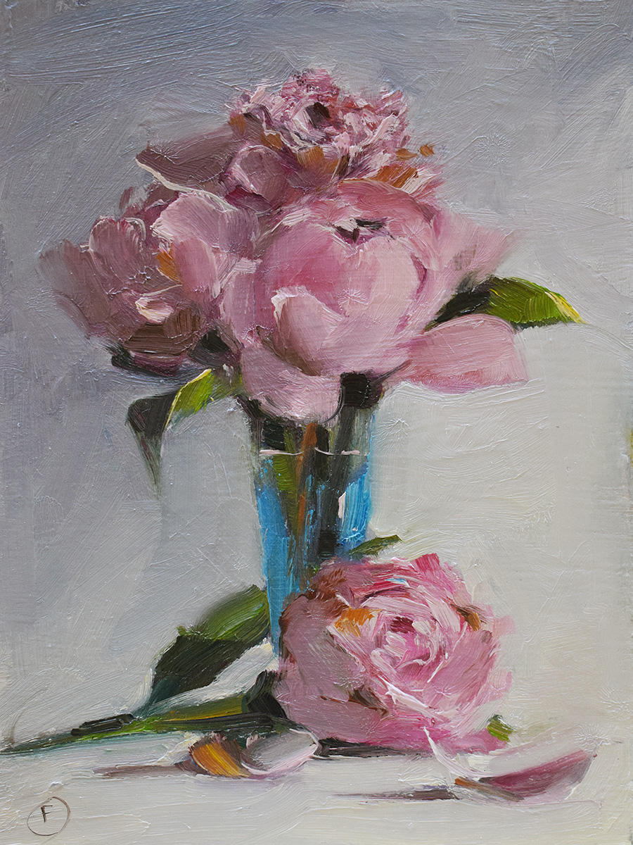 Peonies in Blue jar