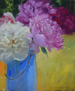 Peonies in a blue pot