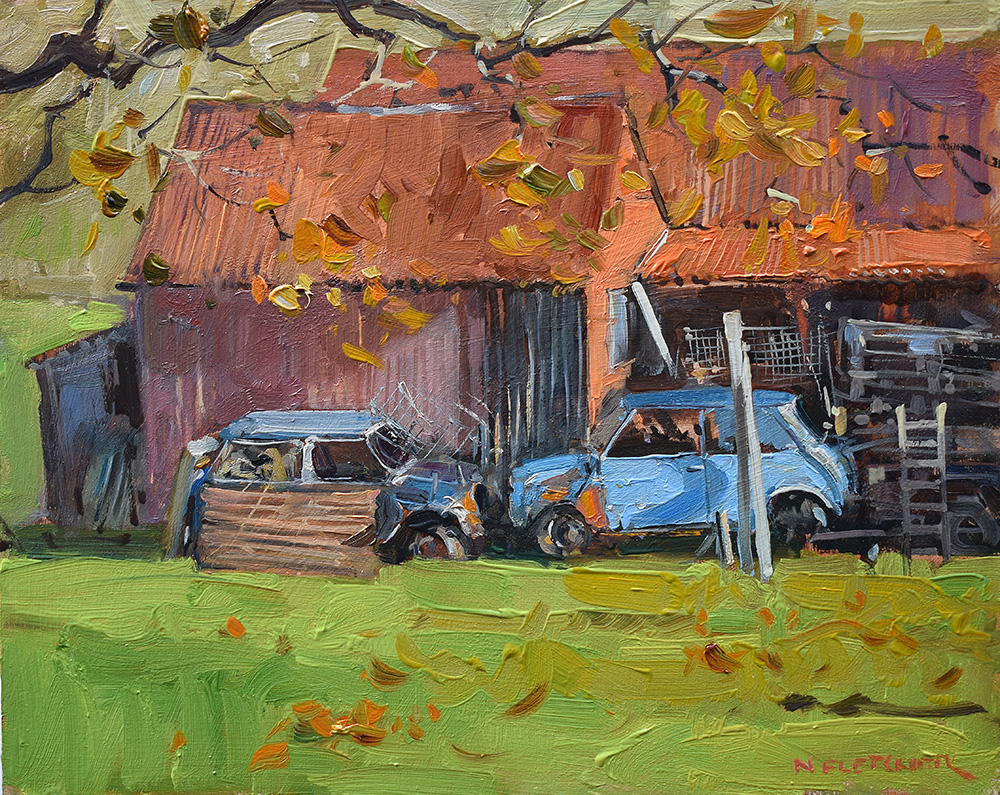 Two Mini's behind the shed