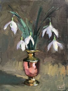 Snowdrops in Copper pot