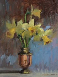 Daffodils in metal pot