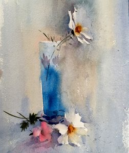 Cosmos in blue jar