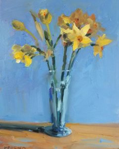 Narcissus in blue jar