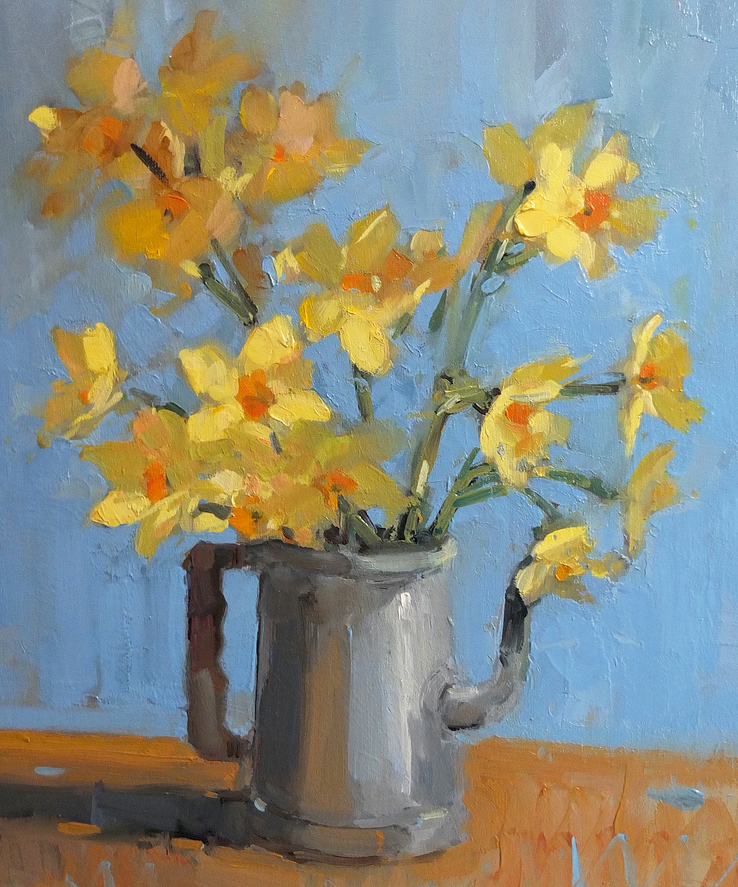 Scilly Narcissus on blue background